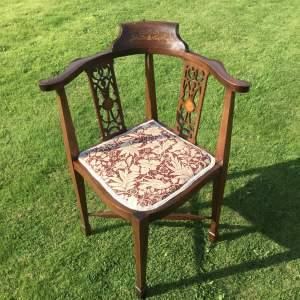 Fine Edwardian Inlaid Corner Chair