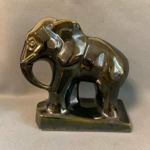 Art Deco Glazed Ceramic Figure of an Elephant