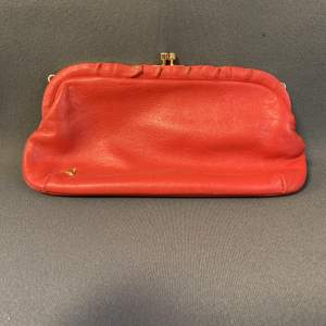 Red Leather Jane Shelton Clutch Bag
