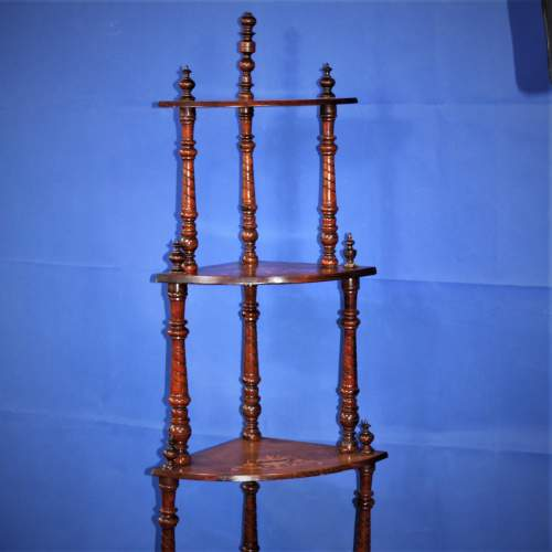 Fine Inlaid Edwardian What Not Shelving with Vase Inlay image-1