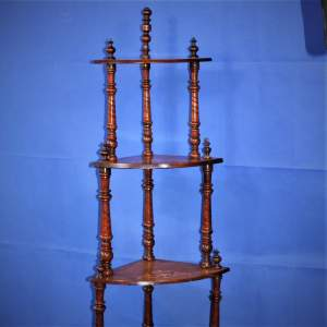 Fine Inlaid Edwardian What Not Shelving with Vase Inlay