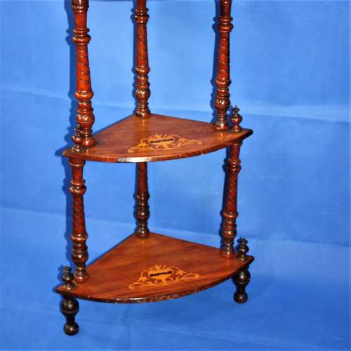 Fine Inlaid Edwardian What Not Shelving with Vase Inlay image-2