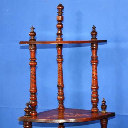 Fine Inlaid Edwardian What Not Shelving with Vase Inlay image-3