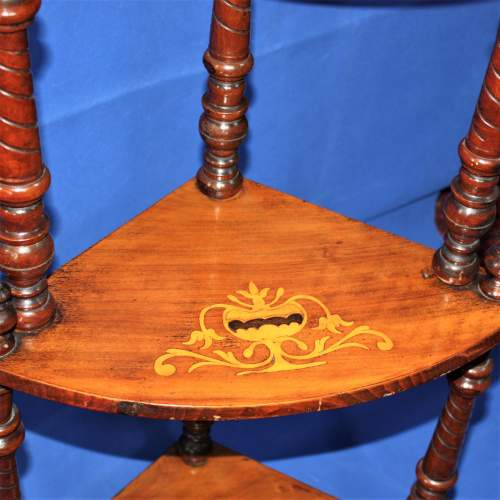 Fine Inlaid Edwardian What Not Shelving with Vase Inlay image-6