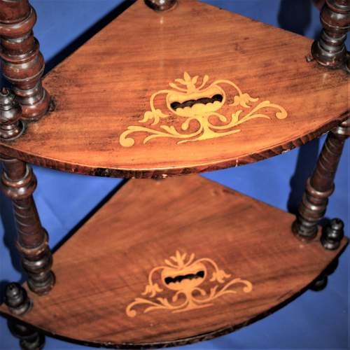Fine Inlaid Edwardian What Not Shelving with Vase Inlay image-5