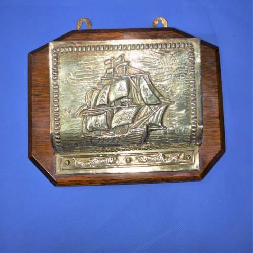 Vintage Brass and Oak Letter Rack image-1