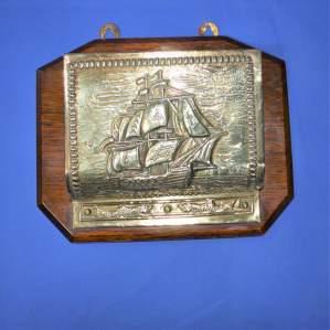 Vintage Brass and Oak Letter Rack
