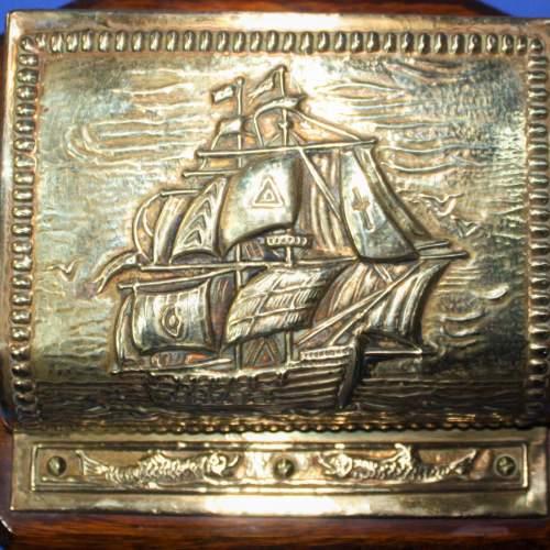 Vintage Brass and Oak Letter Rack image-2