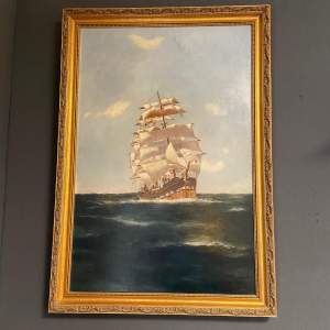 20th Century Oil on Canvas Sailing Ship by Belle Cornelius