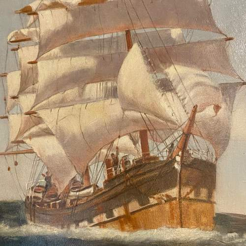20th Century Oil on Canvas Sailing Ship by Belle Cornelius image-3