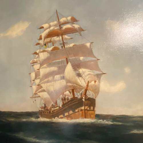 20th Century Oil on Canvas Sailing Ship by Belle Cornelius image-5