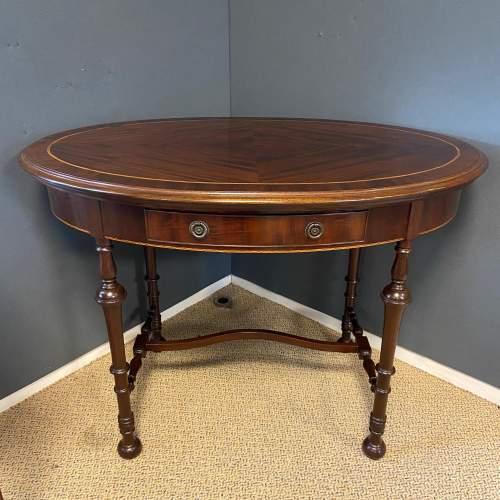 Edwardian Inlaid Mahogany Oval Table image-1