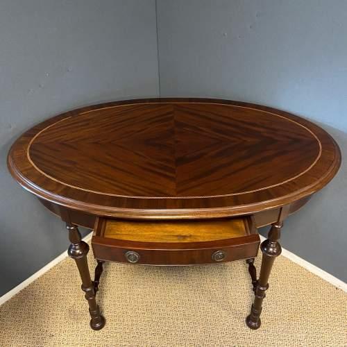 Edwardian Inlaid Mahogany Oval Table image-2