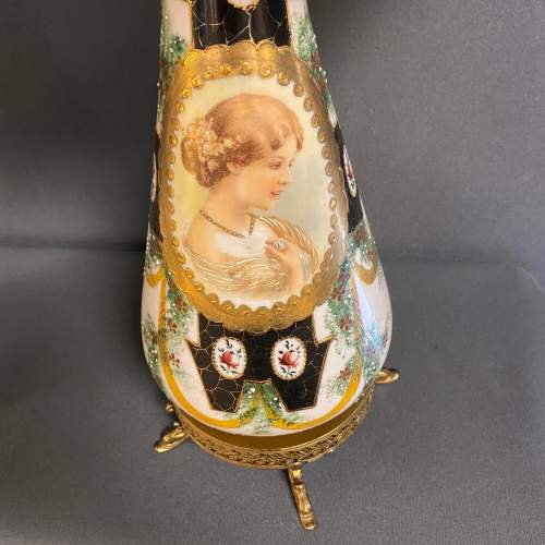 Pair of Victorian Glass Lamps with Shades image-4