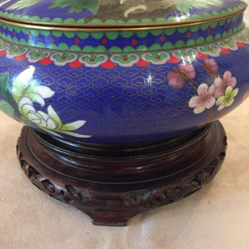 Japanese Cloisonne Bowl And Cover Standing On a Carved Base image-2