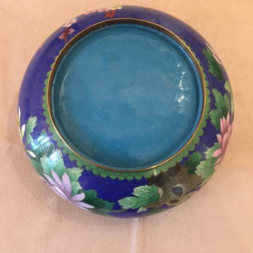 Japanese Cloisonne Bowl And Cover Standing On a Carved Base image-6