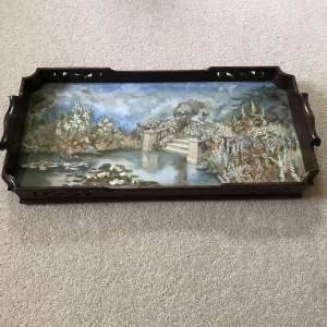 Early 20th Century Tray  Exquisite Hand-Embroidered Panel of a Garden