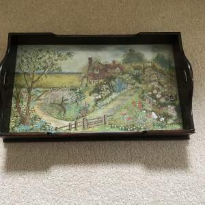 Early 20th Century Wooden Tray with Exquisite Needlework Panel