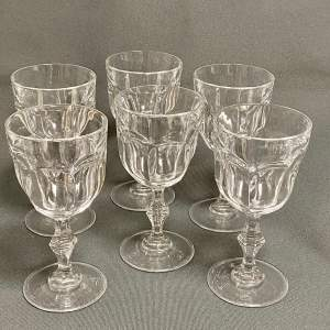 Set of Six Good Quality Faceted Wine Glasses