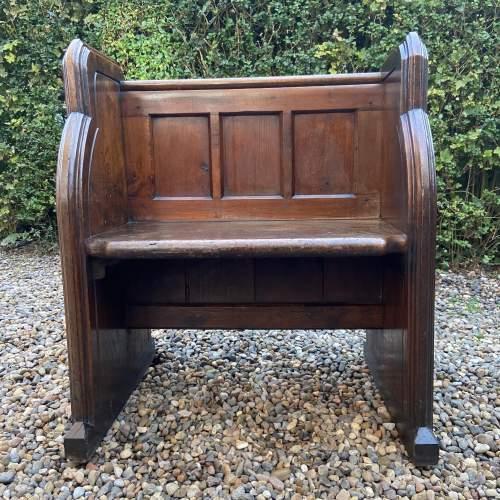 Gothic Revival Single Seat Victorian Oak Pew image-2