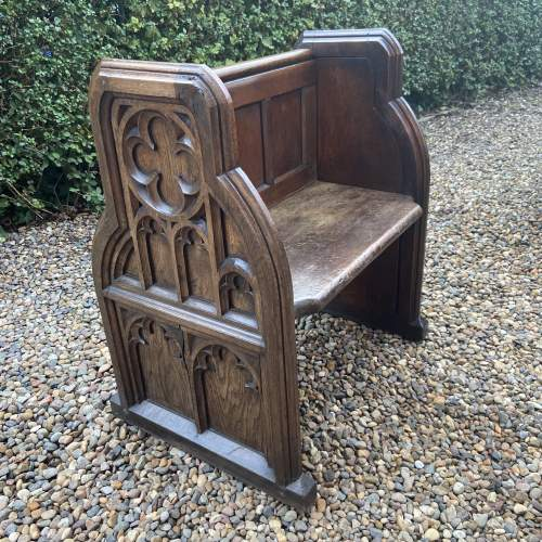Gothic Revival Single Seat Victorian Oak Pew image-1