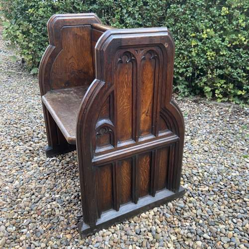 Gothic Revival Single Seat Victorian Oak Pew image-3
