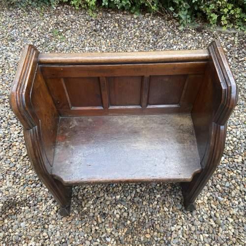 Gothic Revival Single Seat Victorian Oak Pew image-4