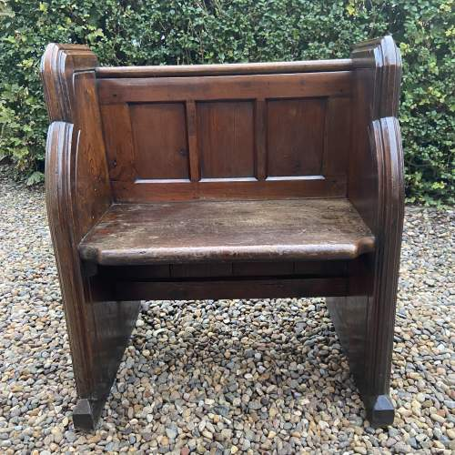 Gothic Revival Single Seat Victorian Oak Pew image-5