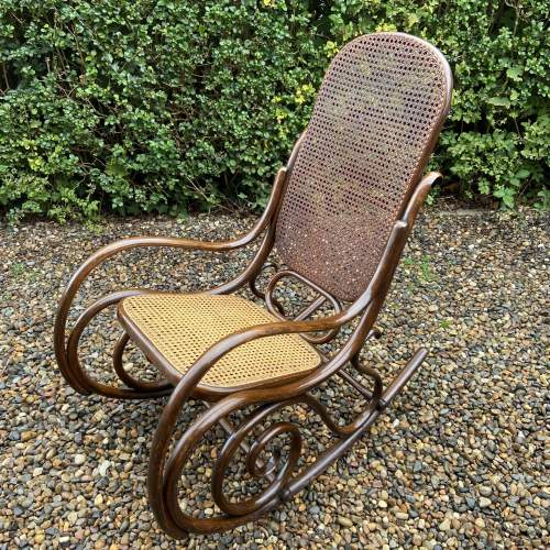 Stylish early 20th Century Fischel Bentwood Rocking Chair image-2
