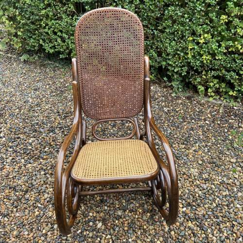 Stylish early 20th Century Fischel Bentwood Rocking Chair image-3