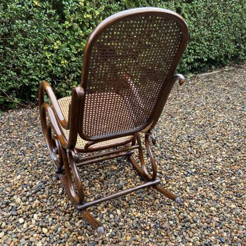Stylish early 20th Century Fischel Bentwood Rocking Chair image-4