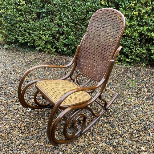 Stylish early 20th Century Fischel Bentwood Rocking Chair image-6