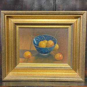 Ian Parker Oil on Board Still Life of a China Bowl with Cherries
