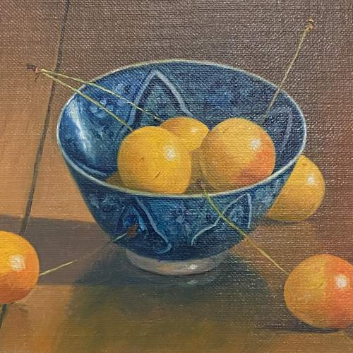 Ian Parker Oil on Board Still Life of a China Bowl with Cherries image-2
