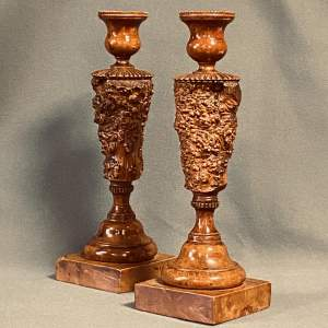 Fine 18th Century Pair Of Treen Burr Yew Tree Candlesticks