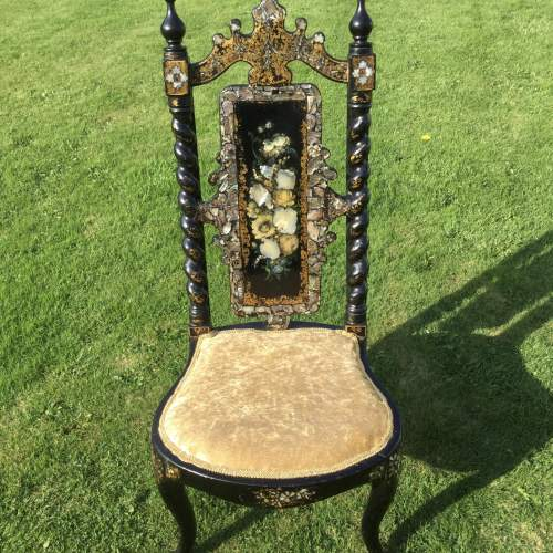 Fabulous Victorian Ebonised High Back Hall Chair image-1