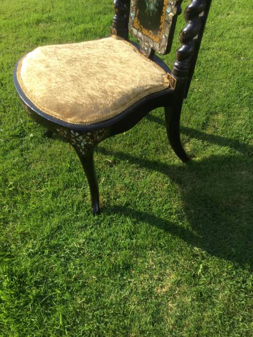 Fabulous Victorian Ebonised High Back Hall Chair image-5