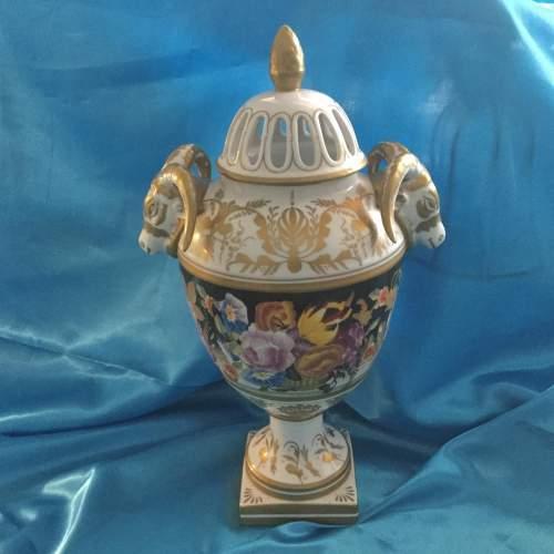 Stunning Hand Painted Pot Pourri Heavily Gilded Vase image-1