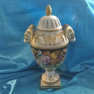 Stunning Hand Painted Pot Pourri Heavily Gilded Vase