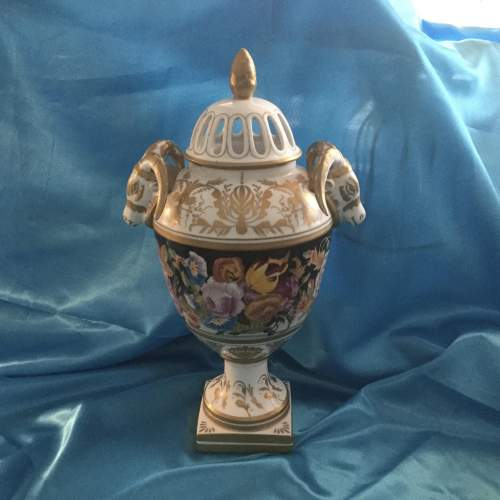 Stunning Hand Painted Pot Pourri Heavily Gilded Vase image-3