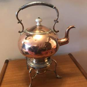 Victorian Decorative Copper Kettle On Stand