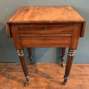 George III Mahogany Pembroke Drop Leaf Sewing Table