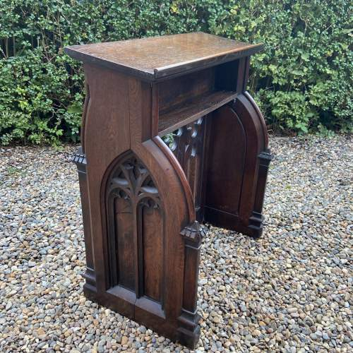 Gothic Revival Victorian Carved Oak Lecturn image-1