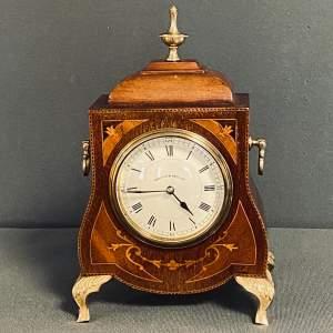 Edwardian Walker and Hall Inlaid Mahogany Mantel Clock
