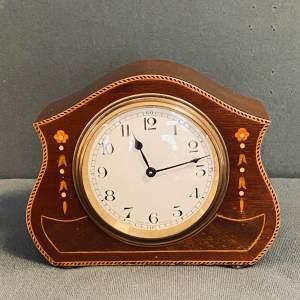 Edwardian Inlaid Mahogany Small Mantel Clock
