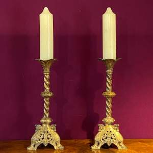 Pair of Large Victorian Brass Pricket Candlesticks