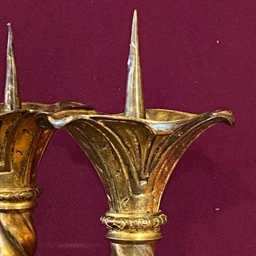 Pair of Large Victorian Brass Pricket Candlesticks image-3