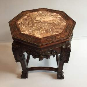 Chinese Marble Topped Carved Hardwood Jardiniere Stand Circa 1900