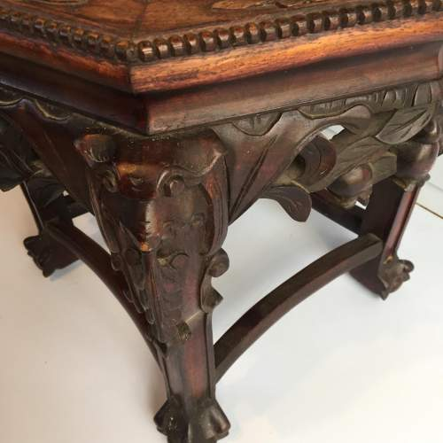 Chinese Marble Topped Carved Hardwood Jardiniere Stand Circa 1900 image-4