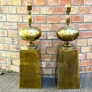 Pair of Maison Barbier Patinated Bronze Table Lamps